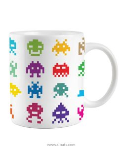 taza blanca invaders pixel