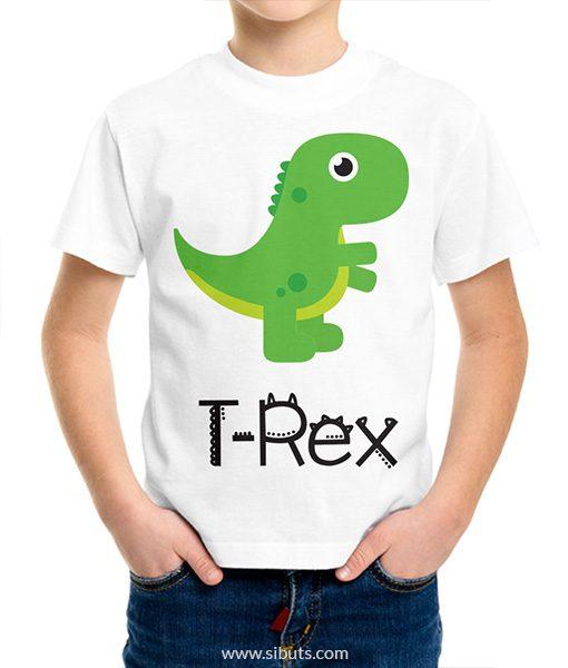 playera blanca para niño t rex