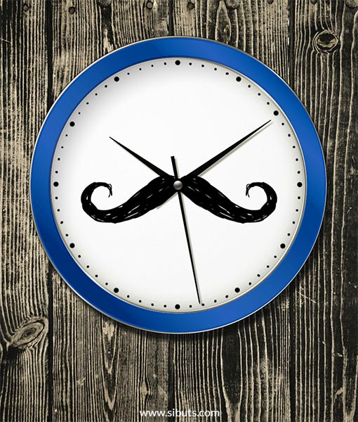 reloj de pared azul moustache