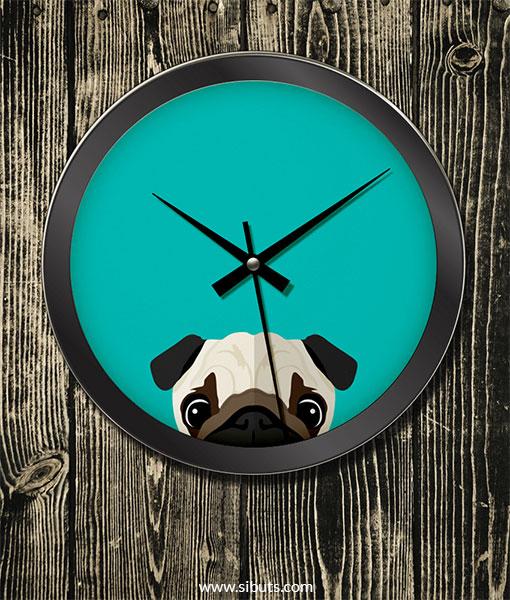 Reloj de Pared con diseño de Pug