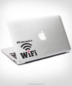 sticker calcomania all you need is wifi mackbook