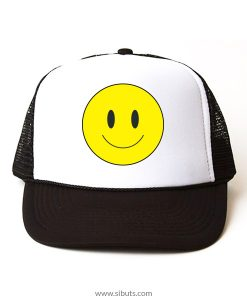 gorra negra tipo trucker happy face