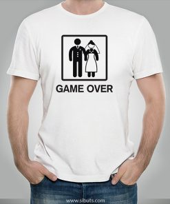 Playera blanca hombre game over