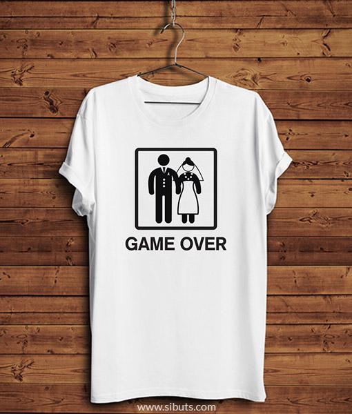 Playera blanca hombre game over