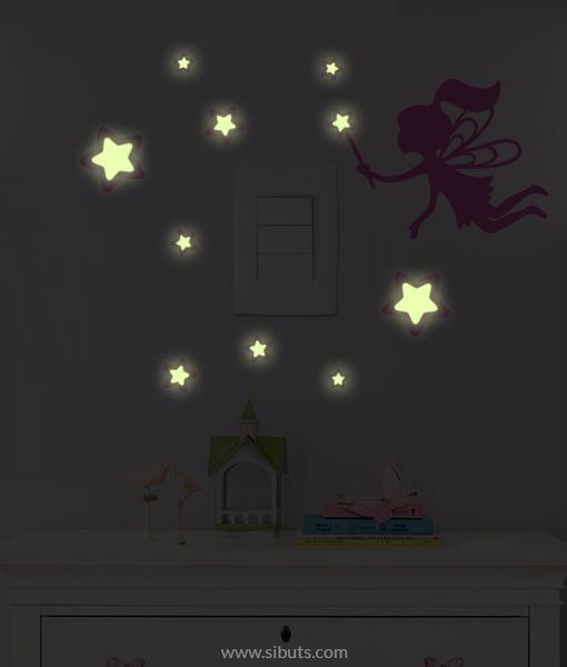 Vinil decorativo para apagador con brillo en la oscuridad de hada con estrellas