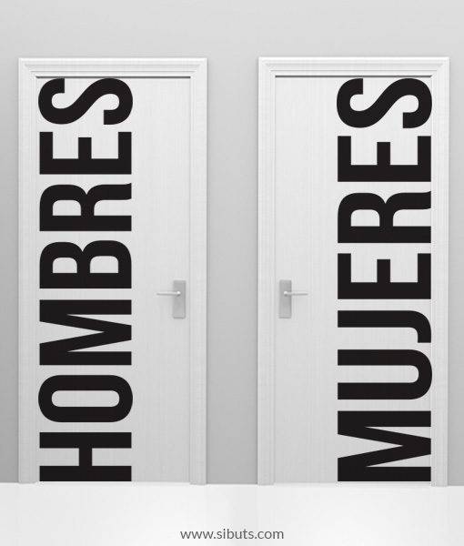 Vinilo puerta ba o hombre mujeres sibuts - Vinilo para azulejos de bano ...