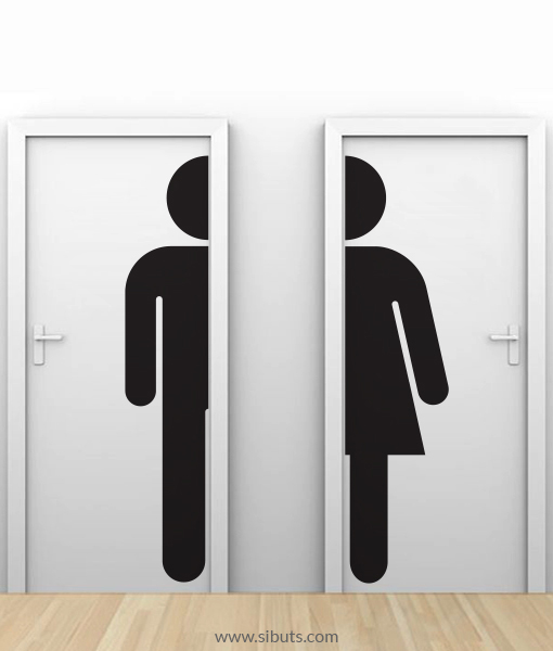 Vinilo puerta ba o silueta hombre mujer sibuts tienda online - Papel de vinilo para banos ...