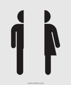 Vinil Decorativo puerta baño silueta hombre y mujer