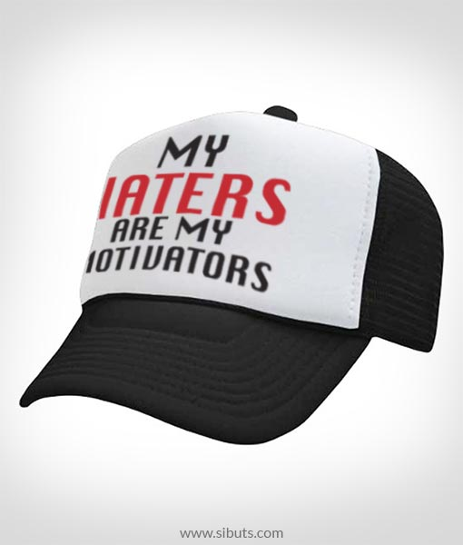 gorra negra tipo camionero my haters are my motivators