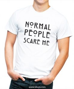 playera blanca cuello V para hombre normal people scare me