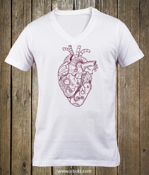 Playera blanca hombre steampunk heart