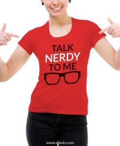 Playera mujer roja talk nerdy to me