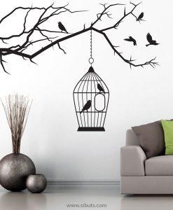 vinil decorativo árbol jaula pájaros negro
