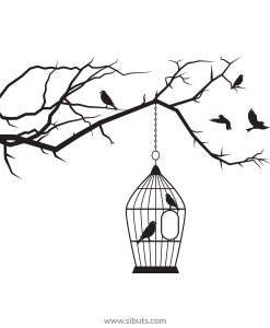vinil decorativo árbol jaula pájaros