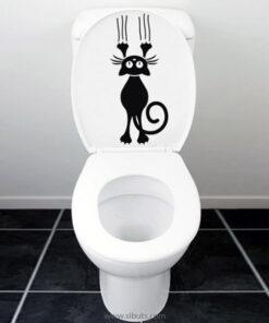 Vinil decorativo para baño gato en excusado