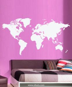 Vinilo Decorativo Mapa Mundi Blanco