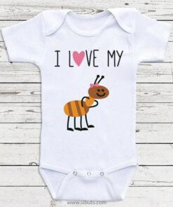 Pañalero blanco bebé I love my ant