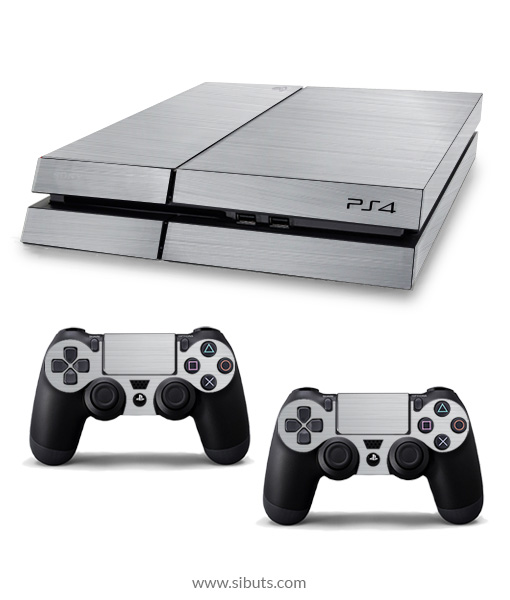 Skin para Ps4 consola y controles plata brushed
