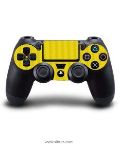 Skin para Ps4 consola y controles fibra de carbono amarillo