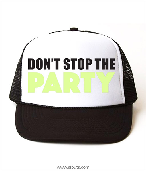 Gorra trucker camionero negra fluorescente Don't stop the party