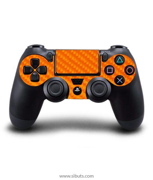 Skin control PS4 fibra de carbono naranja