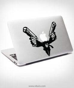 Sticker Calcomanía laptop macbook Double Gun