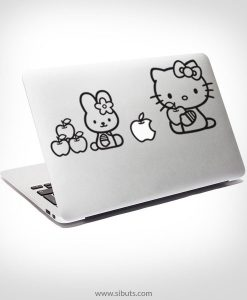 Sticker Calcomanía laptop macbook Kitty apples