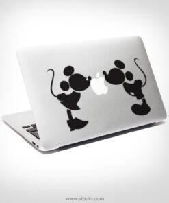 Sticker Calcomanía laptop macbook mickey beso