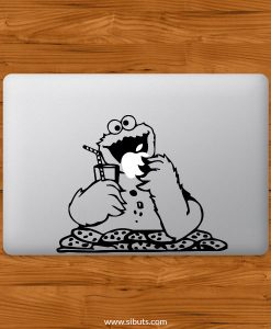 Sticker Calcomanía laptop macbook monstruo come galletas