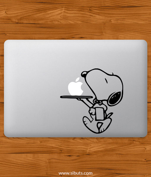 Sticker Calcomanía laptop macbook snoopy mesero