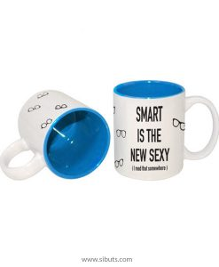 Taza con fondo azul Smart is the new Sexy (I read that Somewhere)