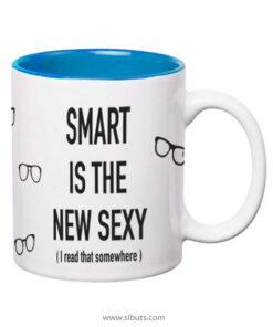 Taza con fondo azul Smart is the new Sexy (I read that Somewhere)