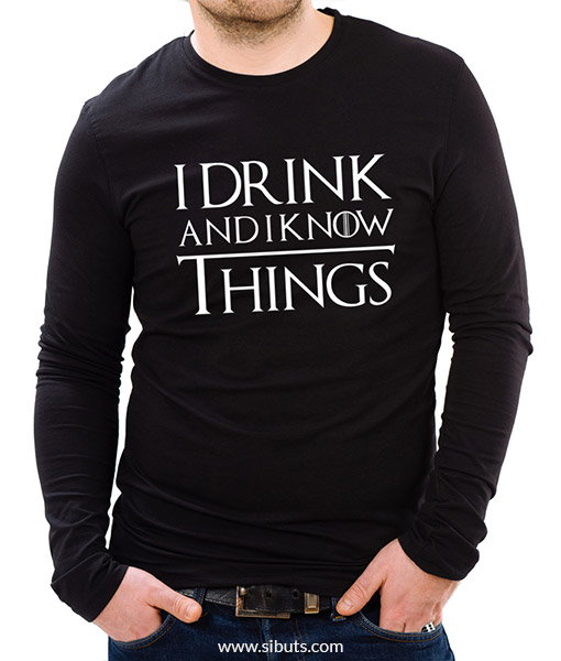 Playera negra manga larga Game of thrones I drink and I know things