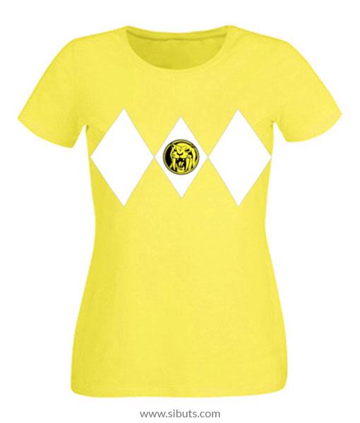 Playera mujer power ranger amarillo