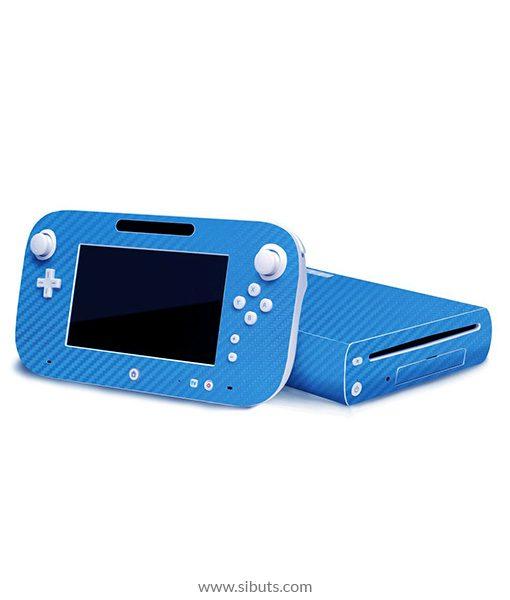 Skin Wii U Fibra de Carbono Azul