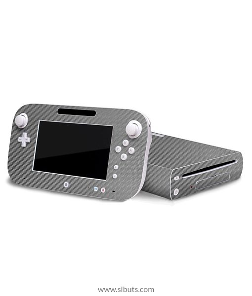 Skin Wii U Fibra de Carbono Gris