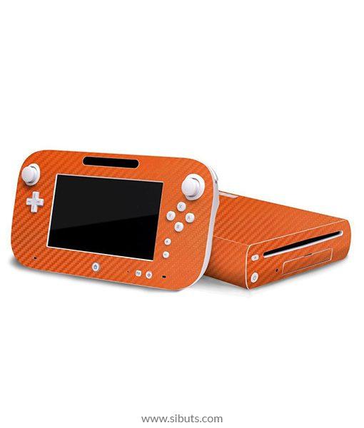 Skin Wii U Fibra de Carbono Naranja