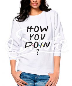 Sudadera cuello redondo blanca para dama serie friends how you doin