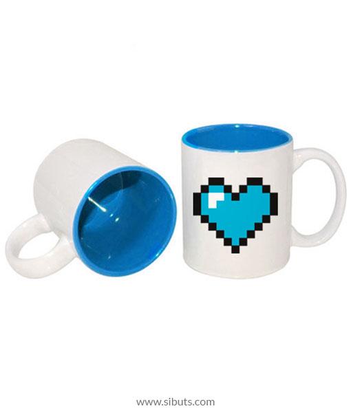 Taza pixel heart blue