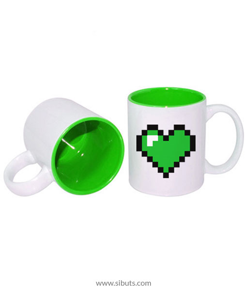 Taza pixel heart green