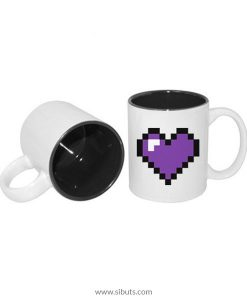 Taza pixel heart purple