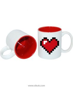 Taza pixel heart red