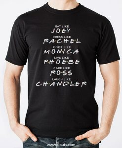 Playera Hombre Serie Friends Names Joey Rachel Monica Ross Chandler Phoebe