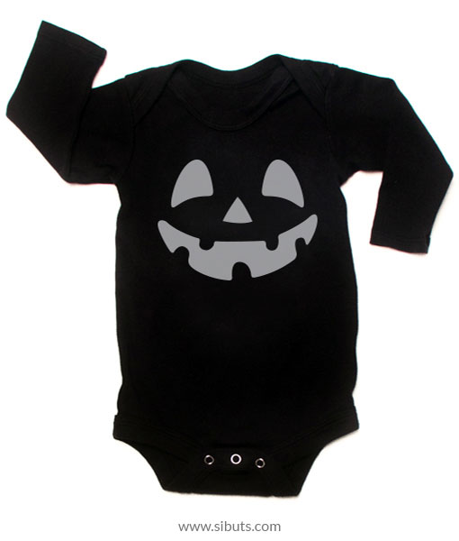 Pañalero negro bebé manga larga calabaza