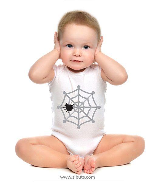 Pañalero para Bebé Blanco de Telaraña Halloween