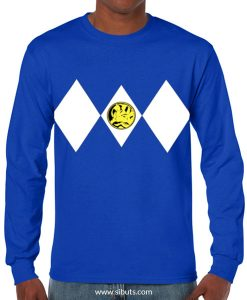 Playera hombre manga larga Power Ranger Azul Blue