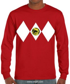 Playera hombre manga larga Power Ranger Rojo Red