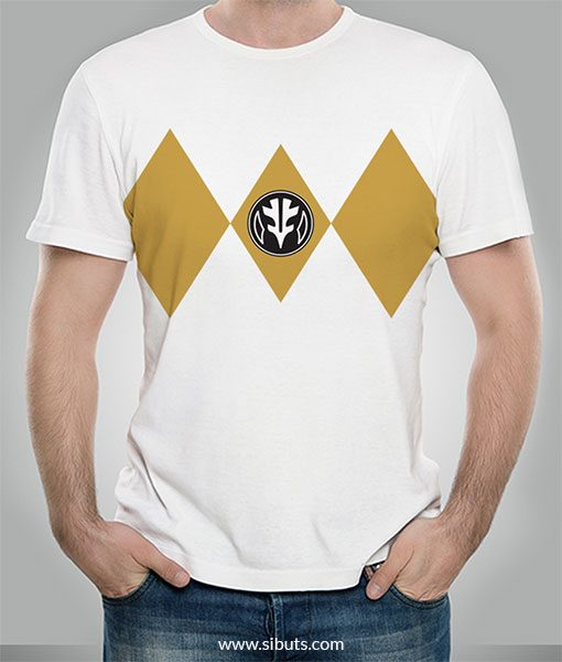 Playera hombre Power Ranger Blanco White