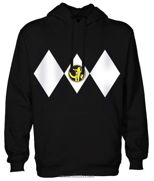 Sudadera con Gorro Negra Power Ranger Negro Black