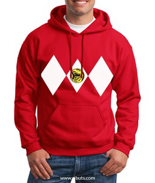 Sudadera con Gorro Roja Power Ranger Rojo Red